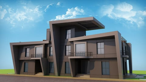 Modern Twin House - 3Ds Files - 2Ds Plans
