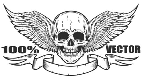 Vintage Monochrome Logo Template With Skull And Eagle Wings With Ribbon Isolated Vector Illustration. 100% Vector