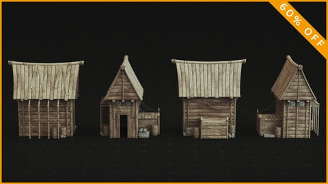 Medieval Building 3D Model / PBR Textures