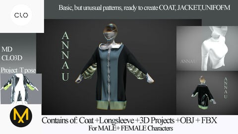 COAT, JACKET, LONGSLEEVE Clo3D, Marvelous Designer Project+Obj+FBx  Advanced Patterns Basic PATTERNS