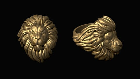 Lion Head Ring 3D print model