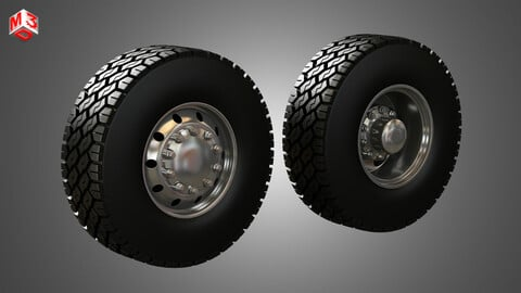 Dump Truck Tires and Wheels 3D model