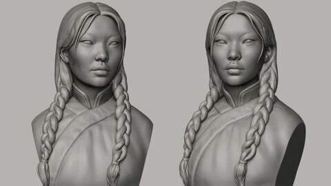Mongolian Woman Bust for 3D printing