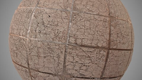 PBR CRACKED TILES FLOOR 2k Material