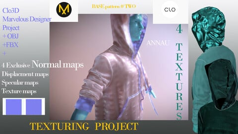+4 Normal maps  Specular maps  Displacement maps  Texture maps | BASE PATTERNS MALE+FEMALE HOODY  |  Texture Clo3D +Marvelous Designer Project +Obj+ Fbf|