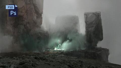 PSD Foggy Fantasy Landscape Environment