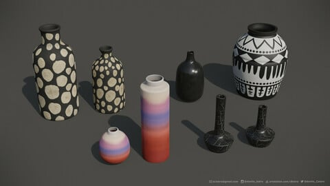 Package with Decorative Vases | 3D model | 2k Textures