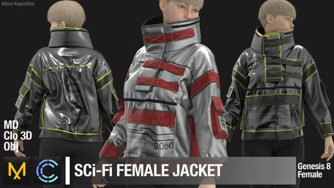 Sci-Fi Female Jacket / Marvelous Designer / Clo 3D project + obj