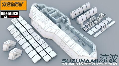 3D Printable OpenLOCK Compatible Tiles - Battle Submarine Suzunami (STLs)