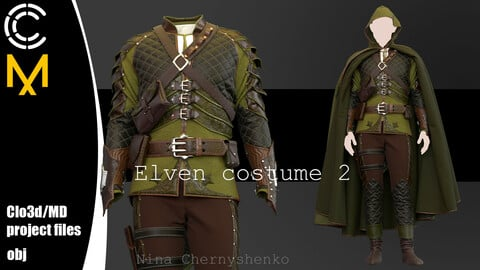 Elven costume 2. Marvelous Designer, Clo3d project + OBJ.
