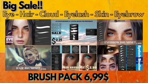 Big Sale!! Eye - Hair - Cloud - Eyelash - Skin - Eyebrow BRUSH PACK 6,99$ And 5 Variants
