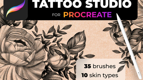 Tattoo Studio for Procreate, Tattoos, image, pattern, tattoo design, tattoo sketch, 10 skin phototypes, Procreate Brushes, Procreate Brush Set, Procreate Lettering, Procreate Brushes, Procreate Brush Brushes For Procreate