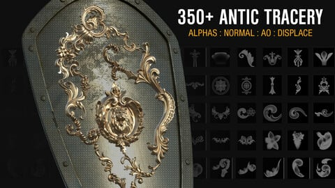 350+ ANTIC Tracery Alphas : Normal : AO : Displace