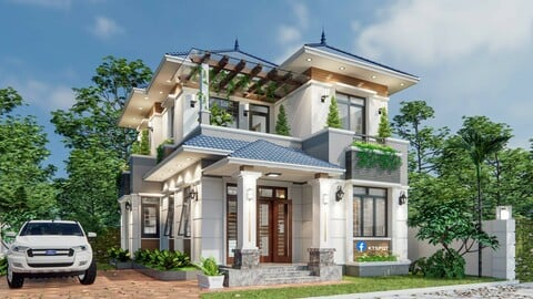 House Design 8x10sqm Villa - Land 15x15sqm