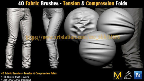 40 Fabric Brushes - Tension & Compression Folds