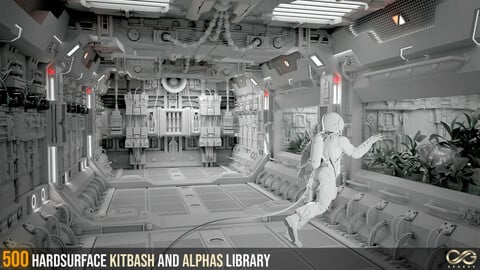 500 Hardsurface Kitbash And Alphas Library