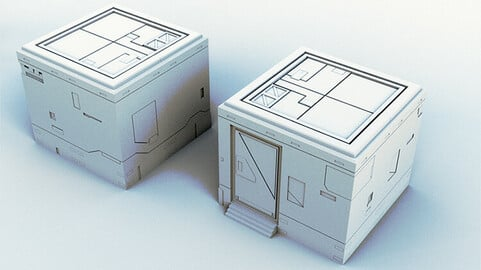 3D Printable Scifi Storage Building