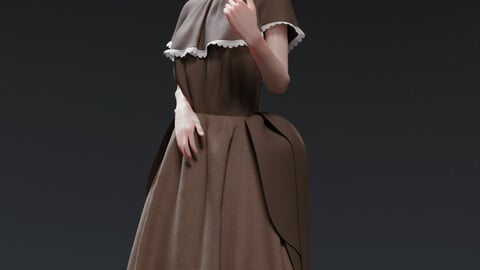 18th century inspired peasant dress Marvelous Designer