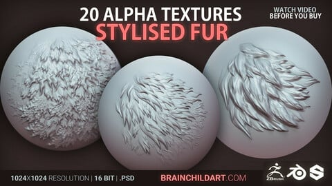 Stylised (FUR) - 20 ALPHAS | Alpha pack for Zbrush, Blender & Substance | + Video how to install in Blender & Zbrush
