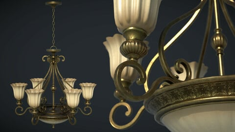 Classic Chandelier 01 - Game Ready PBR 3D model