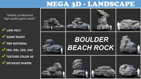 Low poly Gray Boulder Beach Rock Collection 210103