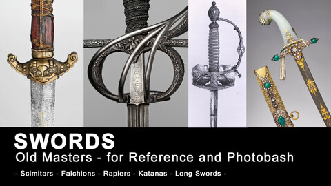 SWORDS - (380+ HQ images) - 80 .png cutout + 300 .jpg - Swords, Scimitars, Katans, Blades, Rapiers, Cerimonial Swords, Falchions, Aged Weapons