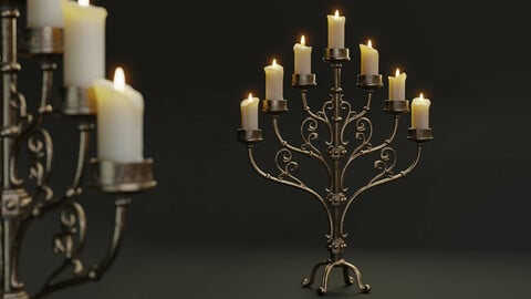 Classic Table Candle Holder - PBR Lowpoly model
