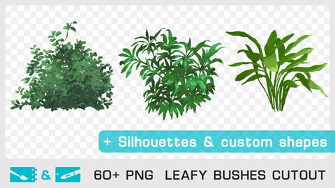 LEAFY BUSHES CUTOUT - Traditional and numeric painting pack - 60+ PNG & FREE Silhouettes + Custom Shapes