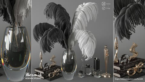 Feathers black and white Decorative Set 3D model