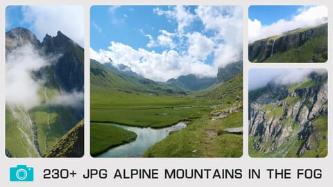ALPINE MOUNTAINS IN THE FOG - Photo reference pack - 230+ JPG & 1 bonus PSD