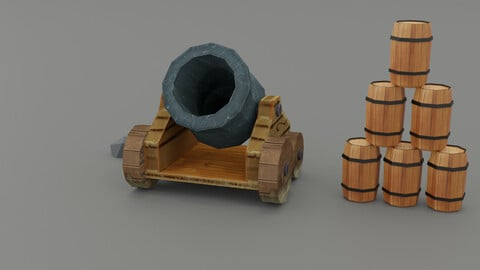 CANNON LOW-POLY HAND-PAINTED