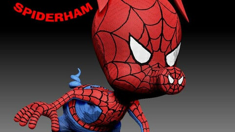 STL Exclusive Release TO ARTSTATION Spider Ham Sculpture for 3D printing