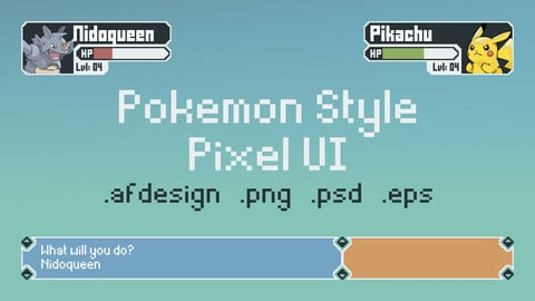 Pokemon Style UI Kit/ Asset Pack (PixelArt)