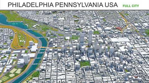 Philadelphia city Pennsylvania USA 3d model 70km