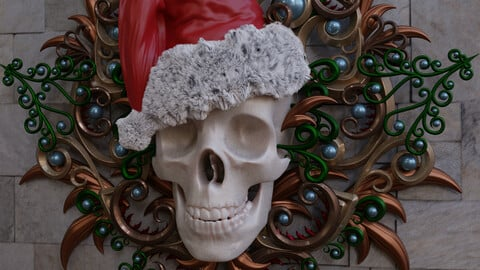 """Skull with ornaments """"Christmas"""" and regular version"""