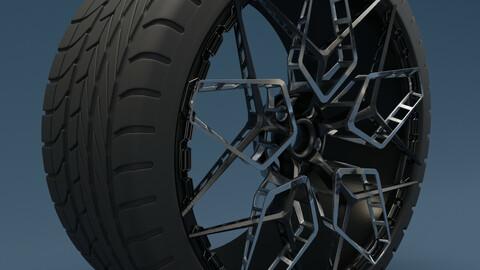 Supercar Wheel Tire concept 3D model