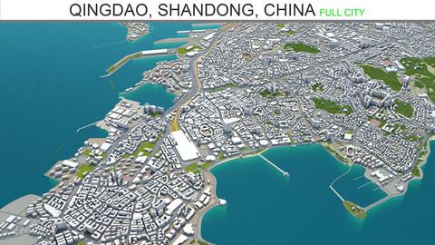 Qingdao city Shandong China 3d model 250km