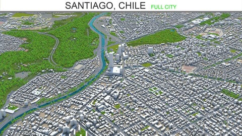 Santiago Chile city 3ds model 60km