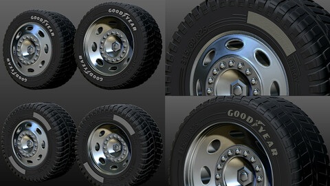 Truck rim tires, STL file for 3D printer Two versions Goodyear and Michelin