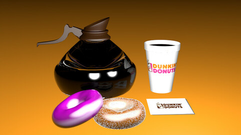 Dunkin Donuts - Cup and glass Jar of Coffee - Cinema 4D