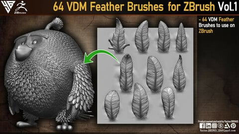 64 VDM Feather Brushes for ZBrush