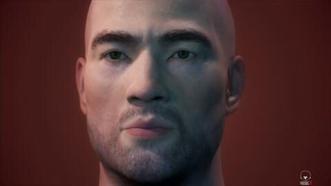Asian Male Head Low-poly 3D model