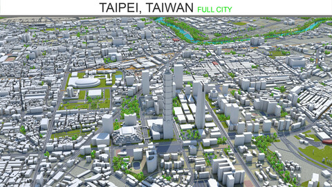 Taipei city Taiwan 3d model 60km