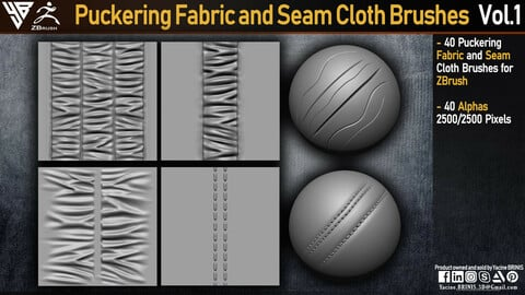 Puckering Fabric and Seam Cloth Brushes for ZBrush (Stitching)