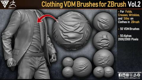 50 VDM Clothing Brushes for ZBrush (Creases, Folds, Wrinkles, Silks) + 50 Alphas. Vol 2