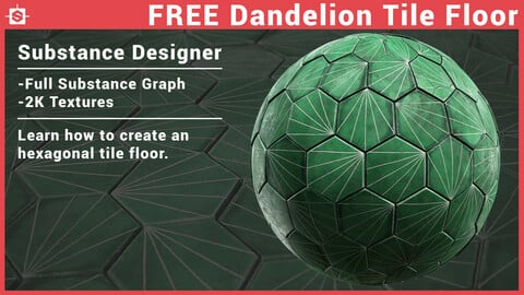 Free Green Dandelion Tile Floor - Substance Designer