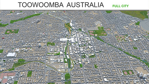 Toowoomba city Australia 3d model 30km