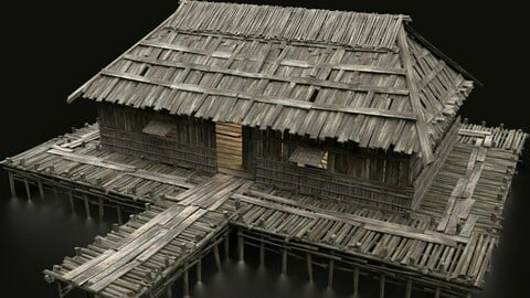 AAA SWAMP WETLAND FANTASY MEDIEVAL WOODEN VIKING HOUSE HUT