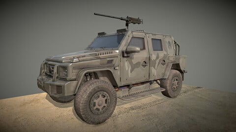 Low poly High detailed military armored 4x4 Sub Low-poly 3D model