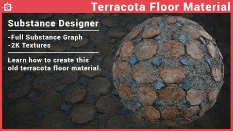 Old Terracotta Floor Material in Substance Designer